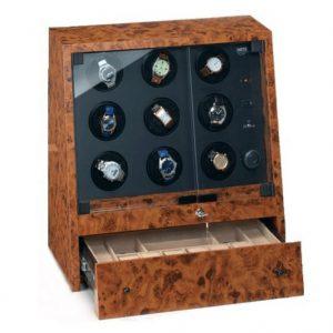 Uhrenbeweger für 9 Uhren in Holzgehäuse